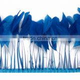 Stripped blue Rooster feather trim
