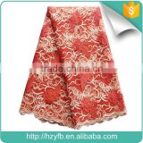 2016 New products red orange french net lace fabric italian bridal lace fabric wholesale with stones fabric lace for wedding