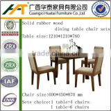 Solid Rubber Wood Round Dining Room Table Sets Fabric Kitchen Chair Table Furniture