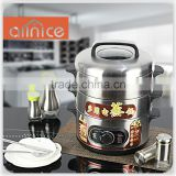 New design Stainless steel lid electric steamer,inner pot,outer shell cylinder rice cooker