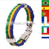2014 Brazil World Cup Soccer Multinational Commemorative Bracelet Braided Leather Bracelet