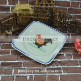 China Rooster Enamel Decorative White Porcelain Square Plate