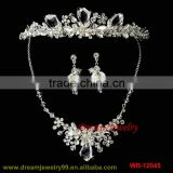 new design fashion jewelry set handmade tiaras necklaces earrings sets three pcs wedding full sets silver plating