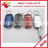 Promotional 3 In 1 Multifuntional Car Key Shaped Painted Gift Ball Pen With Keychain And LED Light