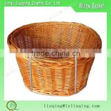 European style brown color wicker bicycle basket for travel