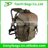 Fishing backpack with metal folding chair