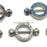 Jewelled Surgical Steel Floral Flowers Body Piercing Nipple Shield Rings