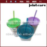 double insulated plastic cups with straws plastic drinking cup with straw reusable clear plastic cups