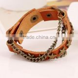 Punk Cool Men Womens Wide Genuine Leather Belt Bracelet Cuff Wristband Bangle