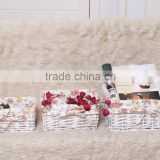 wholesale eco-friendly handmade wicker baske white with liner multifunction storage basket set3