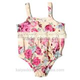 Summer cute save and soft sleeveless flowery baby girl infant bodysuits