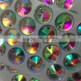 nice small box packing 14mm revoli round shape crystal AB sew on crystal stone with hole for designing clothing