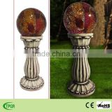 Mosaic roman column with red glass ball solar light