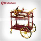 Hotel furniture antique wooden tea& wine &coffee cart service handcart with wheels