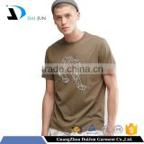 200 grams Cotton mens High quality short sleeve brown embroidered softtextile t shirt manufacturing
