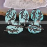 Natural Turquoise Stone Connector Beads, Druzy Beads with Pave Crystal Stone For Jewelry Making