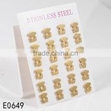 Fashion famous brand high imitation gold plated teddy bear stud earrings