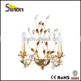 SB0640-2 mide in china simple style gold foil wrought iron crystal wall lamp/bedroom decorating/wall light