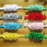 2014 new three flowers chiffon flower headbands with pearl in centre