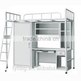 School Furniture For Dormitory Modern Design Metal Single Bunk Bed With Desk And Cabinet