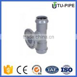PVC plastic pressure regular tee double socket one flange rubber ring joint for water supply
