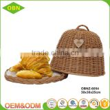 Wholesale Eco - friendly Handmade Durable Brown Wicker Bread Fruit Basket with Cover