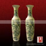 Exquisite large yellow color outdoor pottery ceramic vase