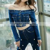 Femme Jeans Jacket Women 2017 Spring New Japanese Style Sexy Off Shoulder Long Sleeve Cropped Denim Jacket