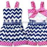 baby one-pieces wholesale infant girl Jumper Shorts Pink Navy Chevron Polkadot Dress toddler chevron cotton romper
