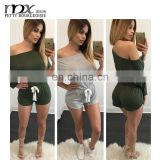 Sexy off shoulder short adult bodycon jumpsuits clubwear rompers jumpsuits for women 2016