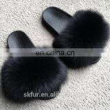 Factory supply stylish and soft real fox fur slide sandals for women