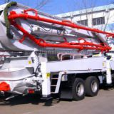 Truck-mounted concrete conveying pump