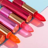 Jelly lipstick moisturizes for a long time. It does not lose its color