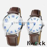 Men's Women's Lover Couple Watches Faux Leather Oversize Round Dial Quartz WristWatches