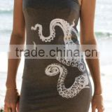 China Alababa Custom Screenprint Octopus White and Gray Ladies Nautical Bodycon Summer Beach Dress LD1981