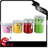 promotional cheap stainless steel kitchen canister set/ tea tin see through lid/ container jar