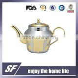 3 Pcs-Set Of Side Handle Arabian Stainless Steel Tea Kettle/Tea Pot Chromium And Gold Plating (SF-7809 SSG)