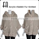 Factory direct wholesale price acrylic poncho with rabbit fur knit