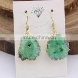 EA3219 Fashion gold electroplatd natural geode agate earrings,druzy sunflower drop earring