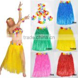 Long Hawaiian Grass Hula Skirt Luau with Flowers Fancy Dress Costume Accessory