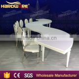 stainless steel frame mdf top half moon round circle wedding banquet dining table                                                                         Quality Choice