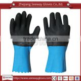 Seeway Nitrile Coated Acid and Alkali Resistant Safety Chemical Gloves with Cotton Lining Added Arm Protective Cuff