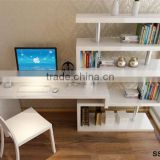 wooden portable coner bookcase , bookcase with computer desk , children study table with bookcase