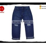 wholesale price men's jeans top design boy dark blue wash roll up jeans ripped denim jean pants big holes on the front