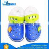 eva clogs for boys sole with fabric cotton plastic sticker on surface