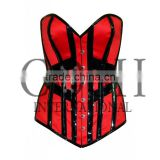 Overbust Steel Boned corset in red and black satin and PVC Ci-1153