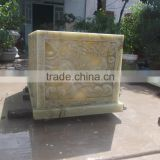 Funeral coffin, cremation urn phonix green marble stone hand carved sculpture from Vietnam