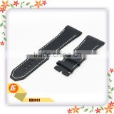 Luxury Modern Style Latest Custom Logo Genuine Calf Leather Watch Band with stitching line in black color