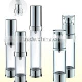 Professinal round shape cosmetic acrylic airless plastic bottle with pump skin care packaging bottle                                                                         Quality Choice