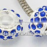 Alloy Glass Crystal Rhinestone European Beads, No Metal Core, Abacus, Nickle Metal Color, Blue(CPDL-H017-2)